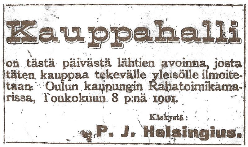 P.J. Helsingiuksen ilmoitus Kalevassa kauppiaiden siirtämisestä sisälle